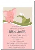 Elephant Baby Pink - Baby Shower Petite Invitations