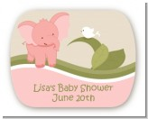 Elephant Baby Pink - Personalized Baby Shower Rounded Corner Stickers