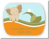 Elephant Baby Neutral - Personalized Baby Shower Rounded Corner Stickers