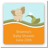 Elephant Baby Neutral - Square Personalized Baby Shower Sticker Labels