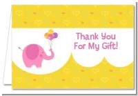 Elephant Pink - Birthday Party Thank You Cards