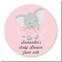 Elephant Pink Tutu - Round Personalized Baby Shower Sticker Labels