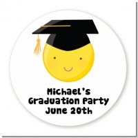 Emoji Graduate - Round Personalized Graduation Party Sticker Labels