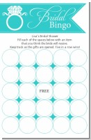 Engagement Ring Aqua - Bridal Shower Gift Bingo Game Card