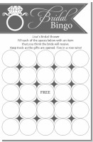 Engagement Ring Dark Grey - Bridal Shower Gift Bingo Game Card