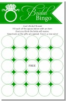 Engagement Ring Green - Bridal Shower Gift Bingo Game Card