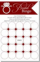 Engagement Ring Maroon - Bridal Shower Gift Bingo Game Card