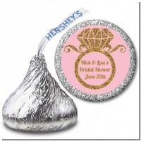 Engagement Ring Pink Gold Glitter - Hershey Kiss Bridal Shower Sticker Labels