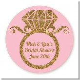Engagement Ring Pink Gold Glitter - Round Personalized Bridal Shower Sticker Labels