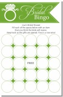 Engagement Ring Sage Green - Bridal Shower Gift Bingo Game Card