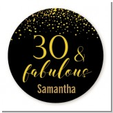 30 & Fabulous Speckles - Round Personalized Birthday Party Sticker Labels