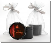Fall Love Birds - Bridal Shower Black Candle Tin Favors