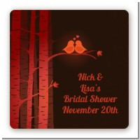 Fall Love Birds - Square Personalized Bridal Shower Sticker Labels