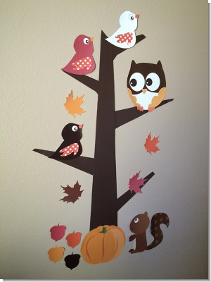 Owl - Fall Theme or Halloween - Baby Shower Fall Owl Tree Cut-Out