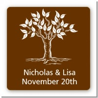 Fall Tree - Square Personalized Bridal Shower Sticker Labels