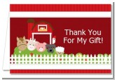 Farm Animals - Birthday Party Thank You Cards