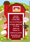 Farm Animals - Birthday Party Invitations