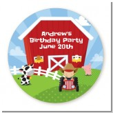 Farm Boy - Round Personalized Birthday Party Sticker Labels