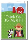 Farm Boy - Birthday Party Thank You Cards