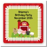Farm Animals - Square Personalized Birthday Party Sticker Labels