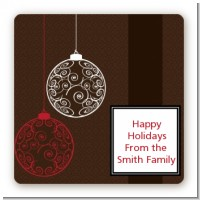 Festive Ornaments - Square Personalized Christmas Sticker Labels