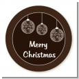Festive Ornaments - Round Personalized Christmas Sticker Labels thumbnail