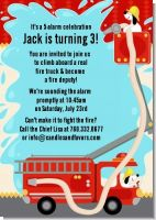 Fire Truck - Birthday Party Invitations