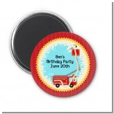 Fire Truck - Personalized Baby Shower Magnet Favors