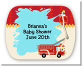 Fire Truck - Personalized Baby Shower Rounded Corner Stickers