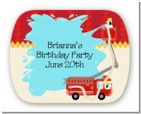 Fire Truck - Personalized Birthday Party Rounded Corner Stickers