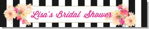 Black and White Stripe Floral Watercolor - Personalized Bridal Shower Banners