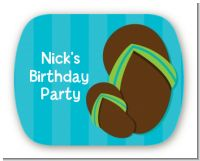 Flip Flops Boy Pool Party - Personalized Birthday Party Rounded Corner Stickers