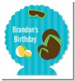 Flip Flops Boy Pool Party - Personalized Birthday Party Centerpiece Stand thumbnail