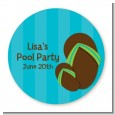 Flip Flops Boy Pool Party - Round Personalized Birthday Party Sticker Labels thumbnail