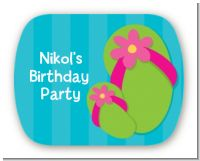 Flip Flops Girl Pool Party - Personalized Birthday Party Rounded Corner Stickers