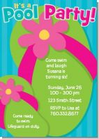 Flip Flops Girl Pool Party - Birthday Party Invitations