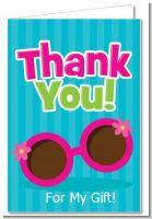 Flip Flops Girl Pool Party - Birthday Party Thank You Cards