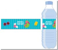 Flip Flops Girl Pool Party - Personalized Birthday Party Water Bottle Labels