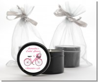 Floral Bicycle - Bridal Shower Black Candle Tin Favors