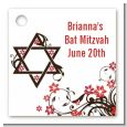 Jewish Star Of David Floral Blossom - Personalized Bar / Bat Mitzvah Card Stock Favor Tags thumbnail