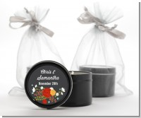 Floral Motif - Bridal Shower Black Candle Tin Favors