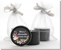 Floral Motif Pink - Bridal Shower Black Candle Tin Favors