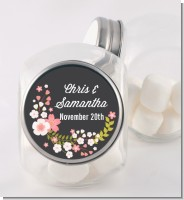 Floral Motif Pink - Personalized Bridal Shower Candy Jar