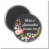 Floral Motif Pink - Personalized Bridal Shower Magnet Favors