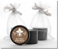 Fluer De Lis - Bridal Shower Black Candle Tin Favors