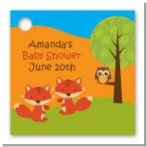 Forest Animals Twin Foxes - Personalized Baby Shower Card Stock Favor Tags