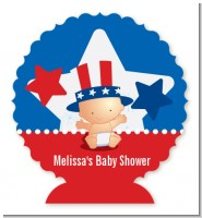 Fourth Of July Little Firecracker - Personalized Baby Shower Centerpiece Stand