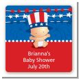 Fourth Of July Stars & Stripes - Square Personalized Baby Shower Sticker Labels thumbnail