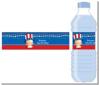 Fourth Of July Stars & Stripes - Personalized Baby Shower Water Bottle Labels