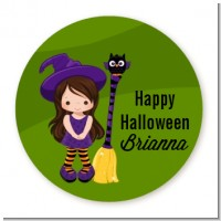 Friendly Witch Girl - Round Personalized Halloween Sticker Labels